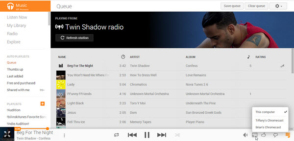 Cast music on Chromecast via Google Play Music