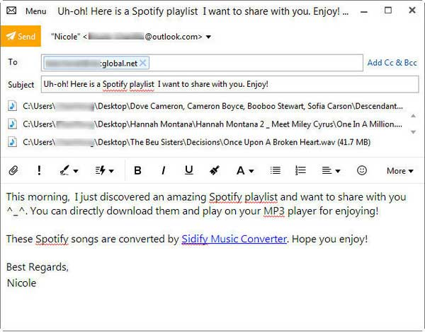 Edit and Share Spotify via Email