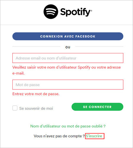 Inscription Spotify
